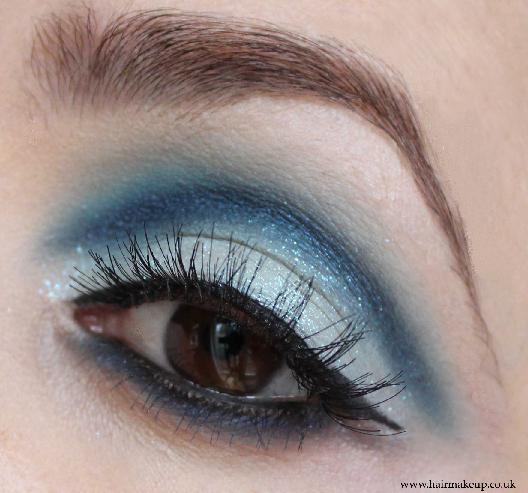 Cut crease blue eyeshadow  