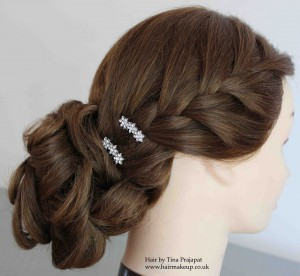 tousled bun with french plait