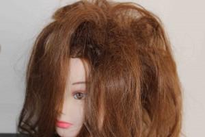 backcombed hair