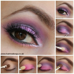 Pink eye makeup Collage